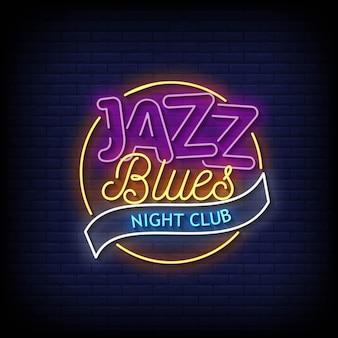 Jazz blues night club neonowe znaki w stylu tekstu wektor