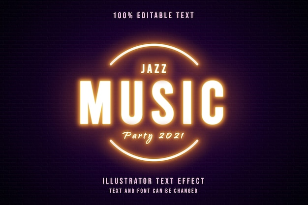 Jazz music party 2021,3d edytowalny efekt tekstowy żółty gradacja fioletowy neon styl tekstu