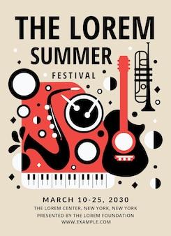 Jazz poster invitation templatemusic karta koncertowa w wektorze