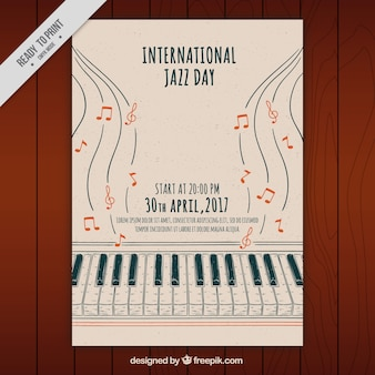 Jazz rysowane ręcznie broszura piano