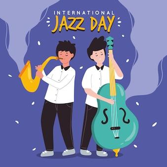 Jazz soul music i muzycy stojący