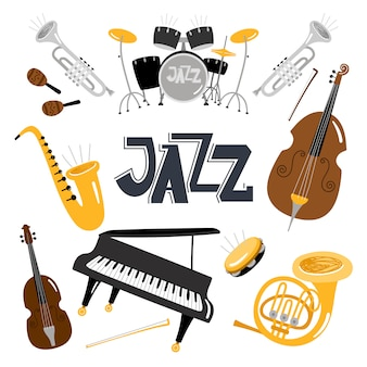 Jazzowe instrumenty muzyczne.