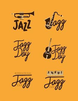 Jazzowy dzień plakatowy zestaw szablonów