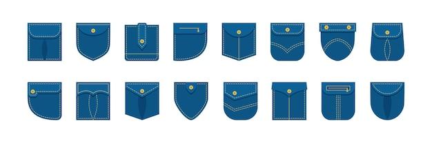 Jeansowa koszula z naszywanymi kieszeniami w innym kształcie, ubrania jeansowe. ilustracja odzieży