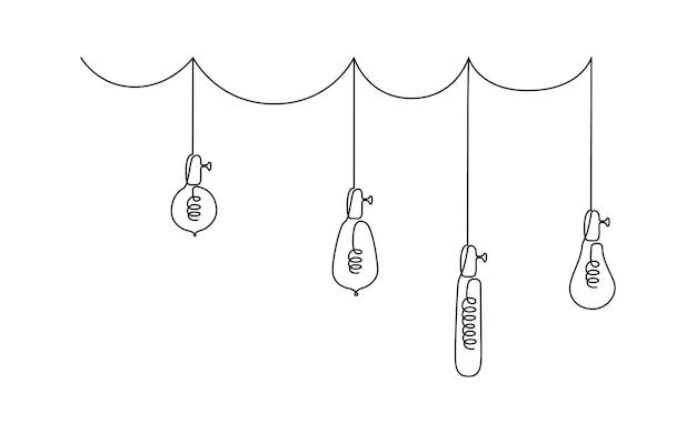 Jeden ciągły rysunek linii żarówek ilustracji wektorowych wiszących lamp wiszących na poddaszu...