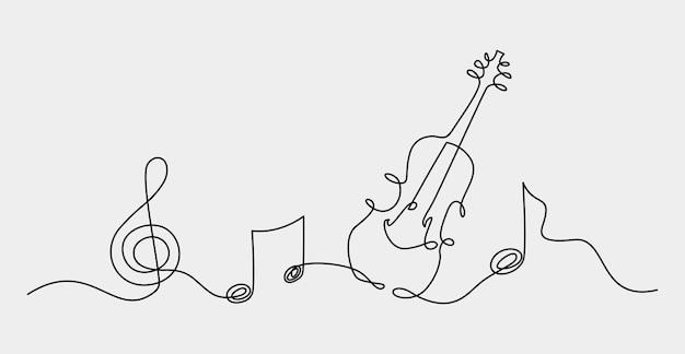 Jeden ciągły rysunek liniiabstrakcja muzyczna nuta tła ilustracji wektorowych