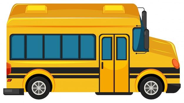 Jeden duży autobus szkolny na białym tle