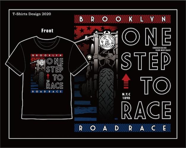 Jeden krok do wyścigów, ilustracji wektorowych motocykl typografii