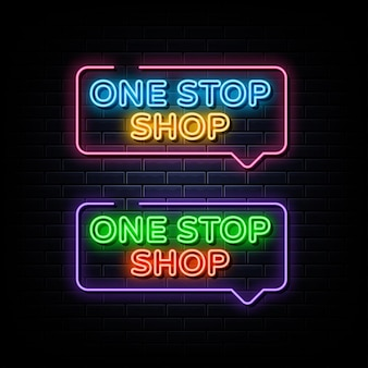 Jeden przystanek sklepowy zestaw neonowy tekst neonowy symbol