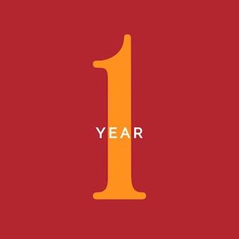 Jeden rok symbol pierwsze urodziny godło rocznica znak numer logo koncepcja vintage plakat szablon