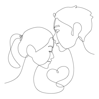 Jeden rysunek linii azjatyckich para pocałunek w czoło z sercem na 14 february.togetherness linia twarz pocałunek dla miłości.
