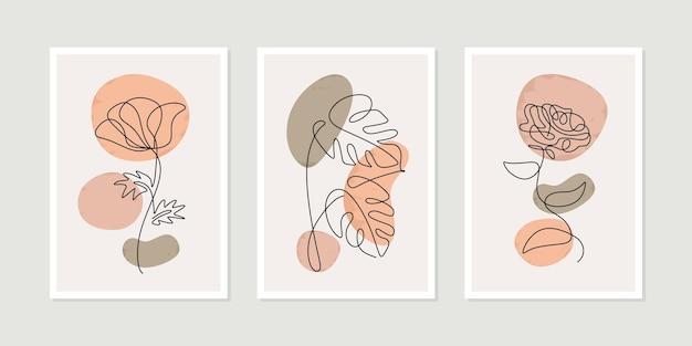 Jeden rysunek linii kwiatowy z zestawem plakatów w kolorach boho