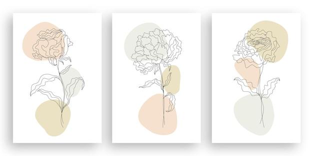 Jeden rysunek linii minimalistyczna ilustracja kwiat w stylu sztuki linii