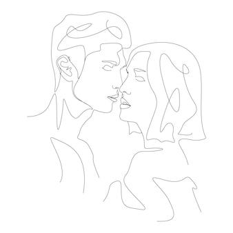 Jeden rysunek linii minimalistyczna para całuje twarz ilustracja w stylu sztuki linii