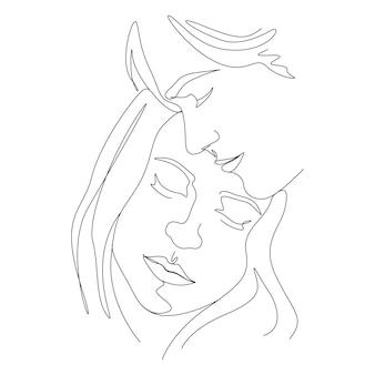 Jeden rysunek linii minimalistyczna para twarz ilustracja w stylu sztuki linii