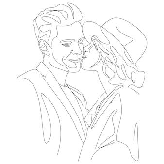 Jeden rysunek linii para całuje twarz ilustracja w stylu sztuki linii