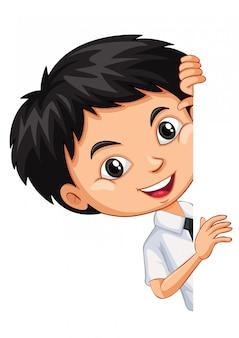 Jeden szczęśliwy chłopiec palcem wskazującym