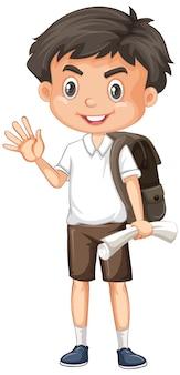Jeden szczęśliwy chłopiec z brązowym plecakiem