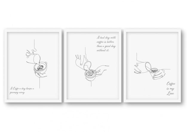 Jeden wiersz ilustracja kawa plakat