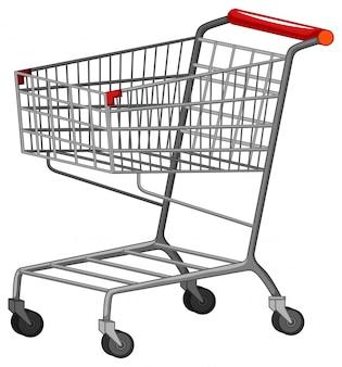 Jeden wózek na zakupy na białym tle