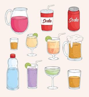 Jedenaście świeżych napojów rysowane stylu
