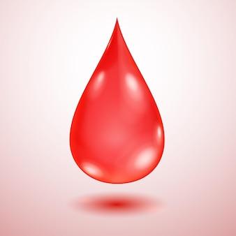 Jedna duża realistyczna półprzezroczysta kropla wody w czerwonych kolorach z cieniem