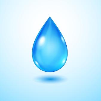 Jedna duża realistyczna przezroczysta kropla wody w niebieskich kolorach z cieniem