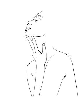 Jedna kobieta rysująca linię. sztuka współczesnego minimalizmu. -ilustracja wektorowa