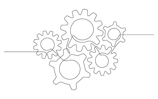 Jedna linia ciągła ilustracja różnych kół zębatych. pięć kół zębatych w prostym, linearnym stylu. obrys edytowalny. kreatywna koncepcja biznesowej pracy zespołowej, rozwoju, innowacji, procesu. wektor