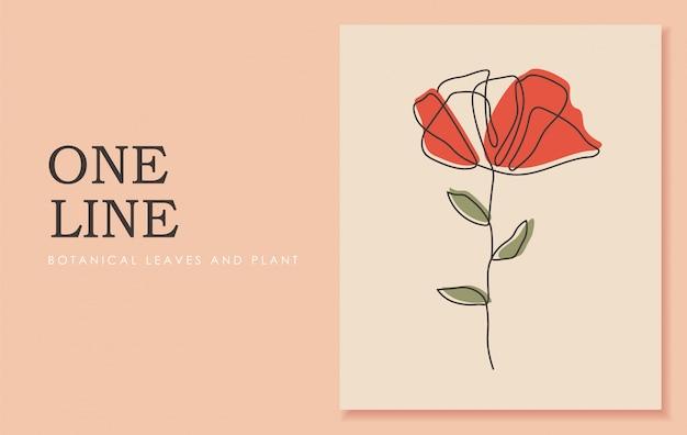Jedna linia ciągła kwiatu, sztuka rysowania pojedynczej linii, tropikalne liście, roślina botaniczna na białym tle, prosty projekt artystyczny, abstrakcyjna linia, do ramki, projektowanie mody, obrazy internetowe, opakowanie