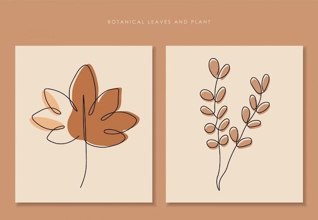 Jedna linia ciągła liści, sztuka rysowania pojedynczej linii, tropikalne liście, zestaw roślin botanicznych
