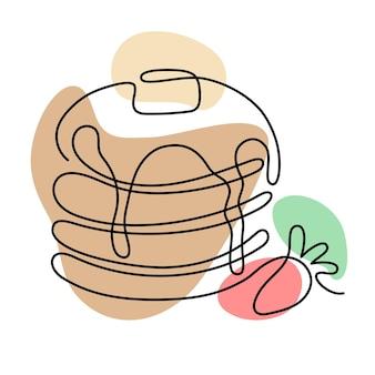 Jedna linia naleśników z truskawkami. ręcznie rysowane logo. koncepcja kawiarni i piekarni. ilustracja wektorowa na białym tle.