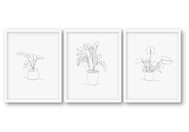 Jedna linia roślin tropikalnych zestaw ilustracji