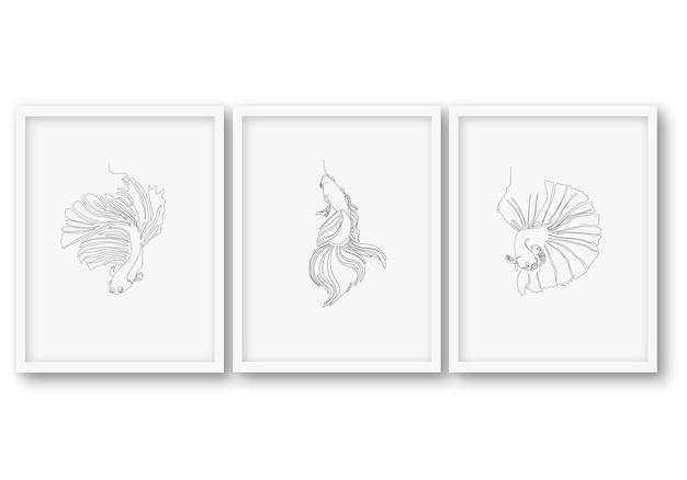 Jedna linia ryb zestaw ilustracji plakat