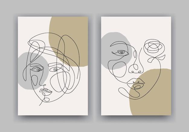 Jedna linia rysowania twarzy kobiety. plakat w stylu minimalizmu