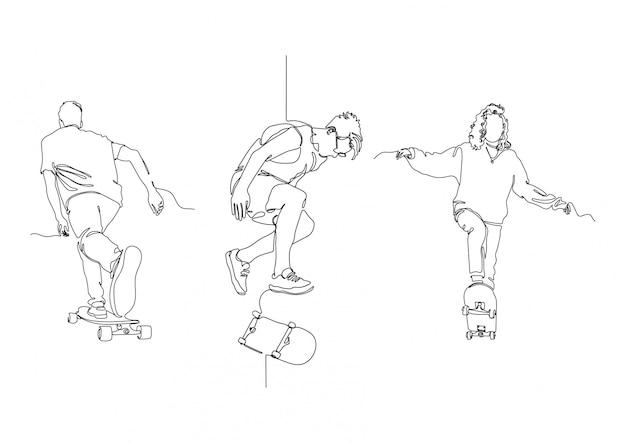 Jedna linia skate zestaw logo stockowa ilustracja wektorowa