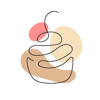 Jedna linia sztuki babeczki z wiśnią. ręcznie rysowane logo. koncepcja kawiarni i piekarni. ilustracja wektorowa na białym tle.