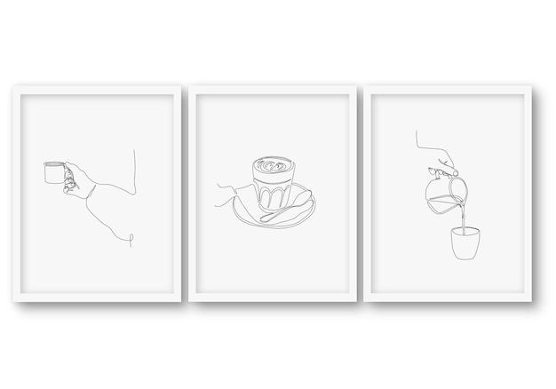 Jedna linia, zestaw do kawy, plakat kolekcje ilustracji