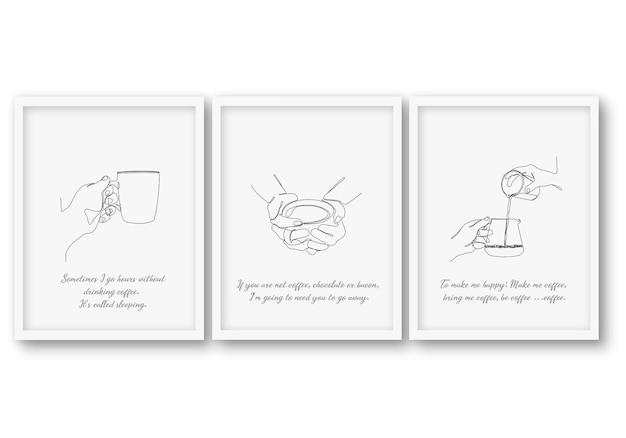 Jedna linia zestaw kawy plakat ilustracji
