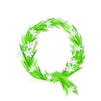 Jedna litera alfabetu wiosennych kwiatów - q. ilustracja na białym tle