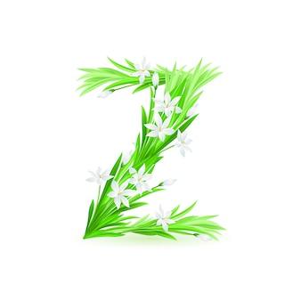 Jedna litera alfabetu wiosennych kwiatów - z. ilustracja na białym tle