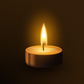 Jedna mała świeca tealamp na białym tle na ciemnym tle. płomień pamiątkowy realistyczna ilustracja 3d