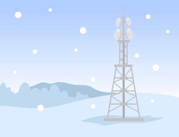 Jedna metalowa wieża transmisji sygnału w polu zimowym. śnieg, sieć, internet płaska ilustracja