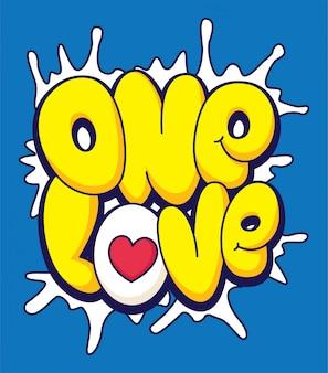 Jedna miłość, napis w stylu kreskówki