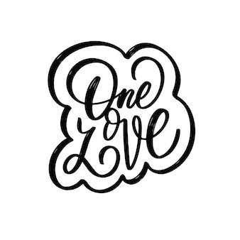 Jedna miłość ręcznie rysowane czarny kolor napis frazę w ramce ilustracji wektorowych