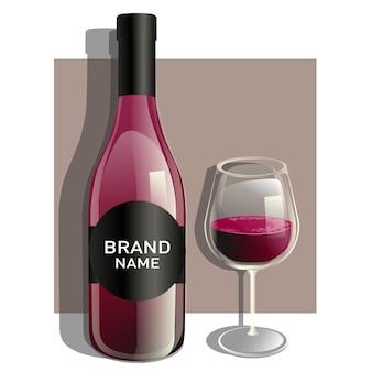 Jedna szklanka i butelka czerwonego wina
