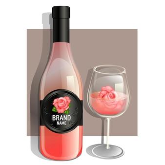 Jedna szklanka i butelka różowego wina