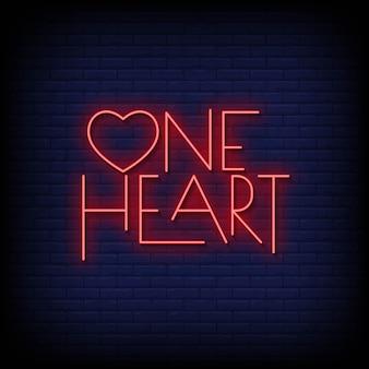 Jedno serce neonowe znaki w stylu tekstu wektor