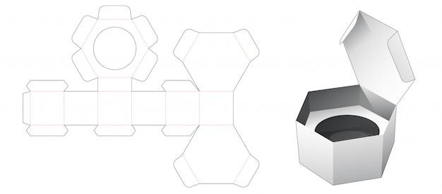 Jednoczęściowe kartonowe sześciokątne pudełko z szablonem wycinanym z wkładką