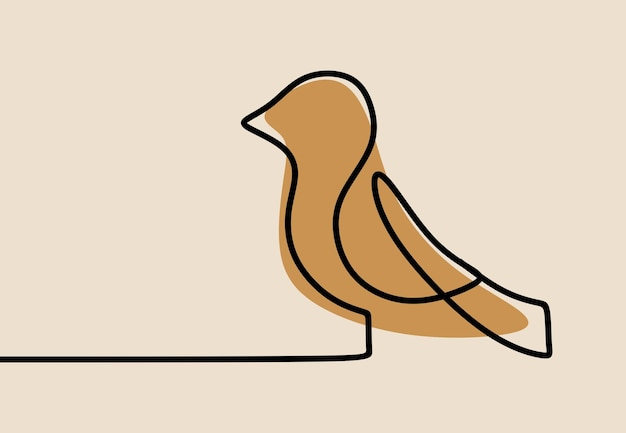Jednoliniowa ciągła grafika liniowa ptaków
